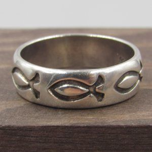 Size 8 Sterling Silver Thick Religious Fish Band